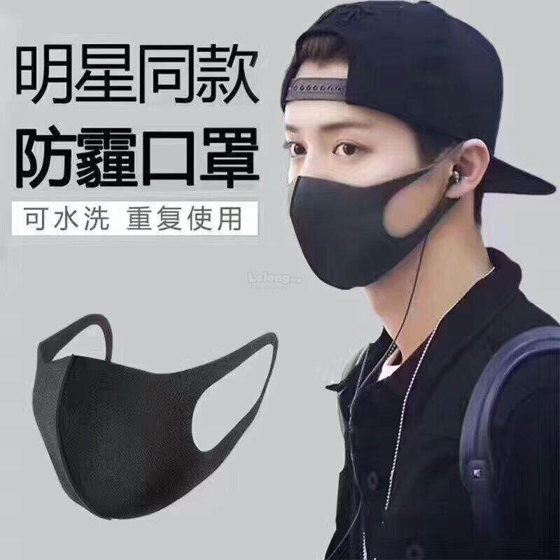 3Pcs Pitta Mask Activated Carbon Riding Mask Outdoor Sports Anti-pollution Anti-Dust Mask_Black
