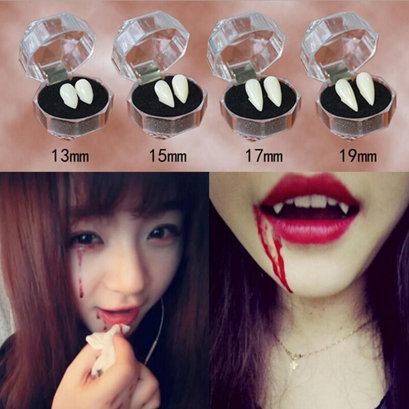 2Pcs Fashion Bloodcurdling Vampire Werewolves Fangs Fake Dentures Teeth Costume Halloween 19mm