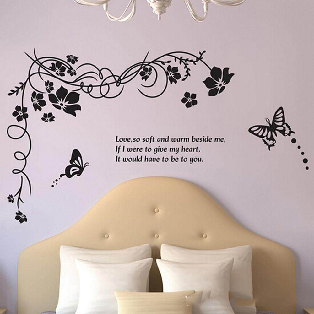 Black Flower Branch PVC Wall Decals DIY Home Sticker WallPaper Vinyl Wall arts Pictures Removable Murals For House Decoration Baby Living Rooms Bedroom Toilet