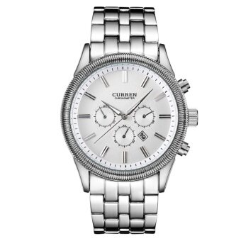 men brand watch men White Steel Watch with Calendar