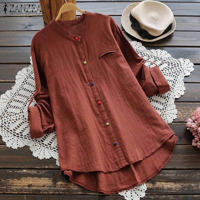 ZANZEA Women Long Sleeve Casual Shirt Tops Buttons Down Asym Cotton Blouse Plus