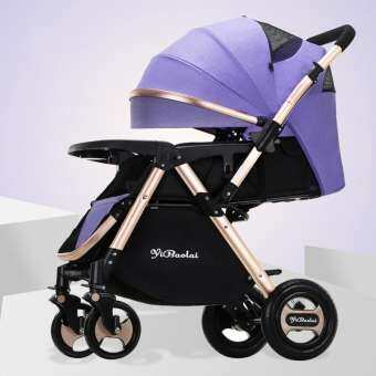 Super Luxury Baby Strollers Ultra-lightweight Folding Travel Baby Stroller Can Sit Can Lie High Landscape Umbrella Baby Trolley Natural Rubber Wheel 0 - 3 Years Old-