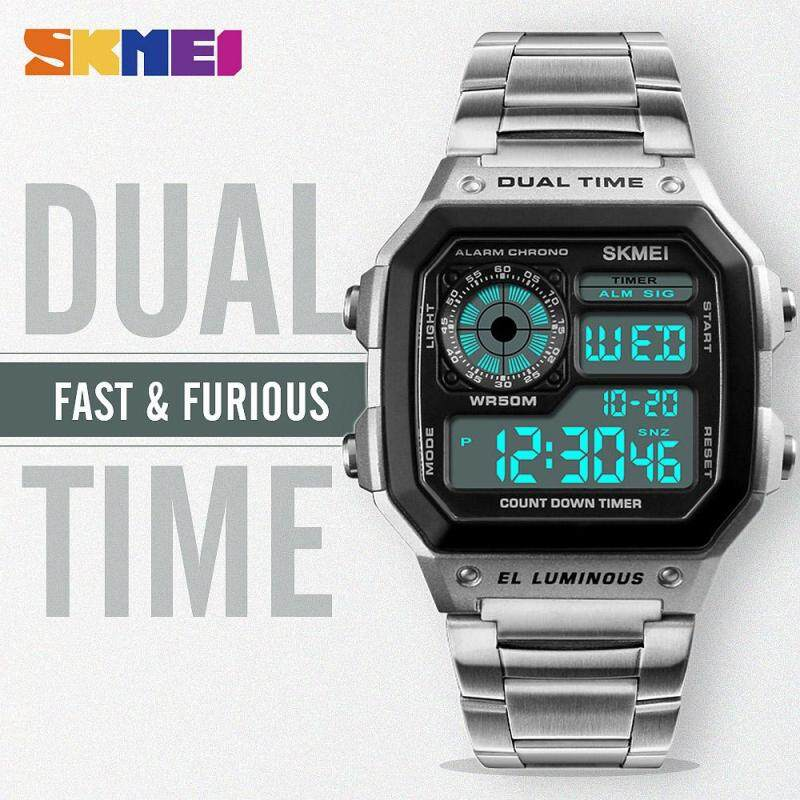 SKMEI New Men Sports Watches Digital Waterproof Watch Count Down Stainless Steel Fashion Wristwatches Male Clock 1335 Malaysia