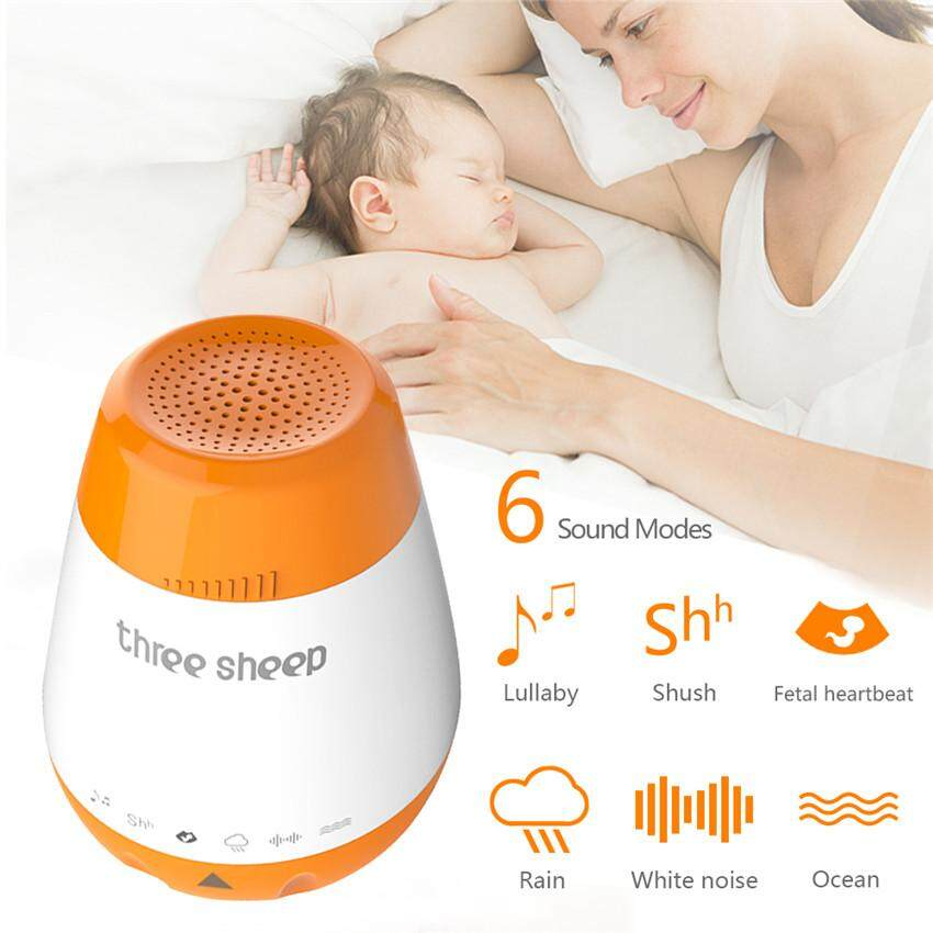 Portable Baby Sleep Soother Sound Machine - Gentle 6 Sounds Include  Lullaby, Fetal Heartbeat, White Noise, Shush, Ocean, and Rain - Auto-Off  Timer