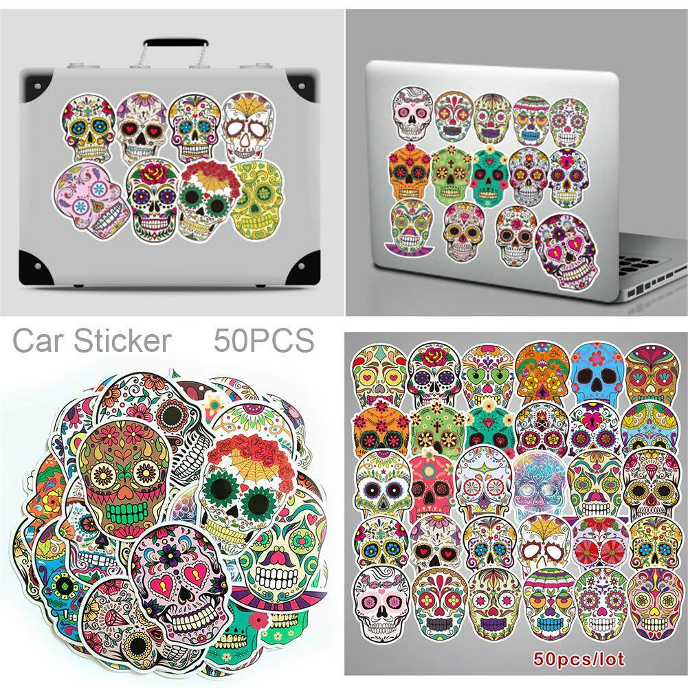 50pcs Sticker Sugar Skull Stickers Vinyl Car Skateboard