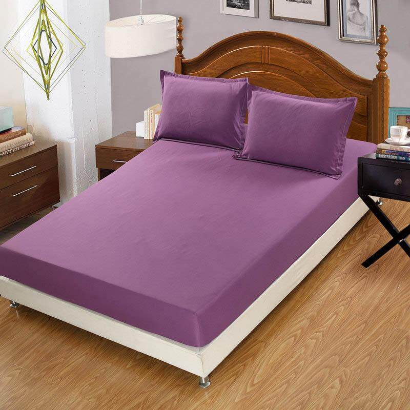รีวิว Solid Color Fitted Bed Sheet Washable Mattress Protector Anti-sip Bedcover for Queen King Bed Color family : ม่วง ขนาดเตียง : ควีน
