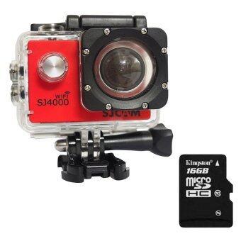 Original SJCAM Sports Action Camera Novatek NTK96655 1080P Full HDSJCAM SJ4000 WIFI Sports Camcorder DV (Red) + Extra Micro SD CardKingston Class10 16GB