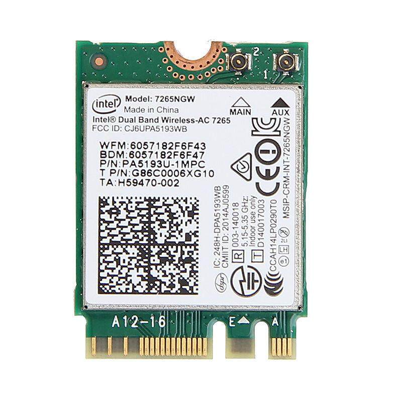 For Intel Dual Band Wireless AC 7265 7265NGW 802.11ac 2x2 WiFi BT4.0 867M NGFF Card