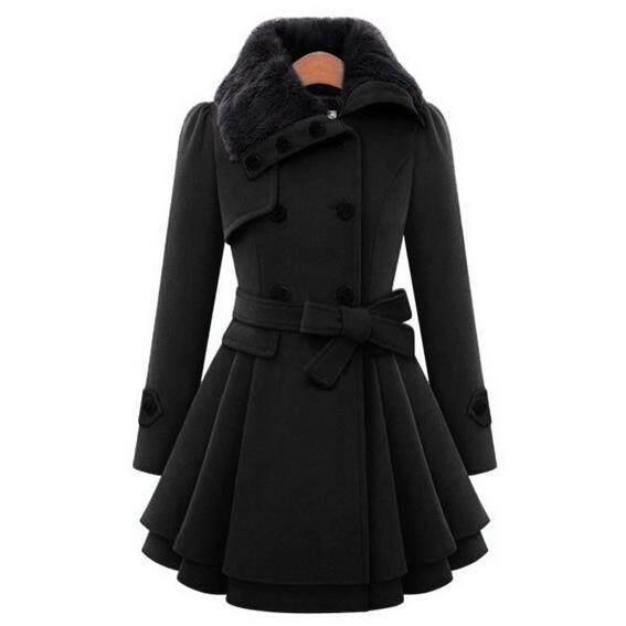 Duchamp New European Beauty in the Long Wool Coat Double-breasted Padded Coat