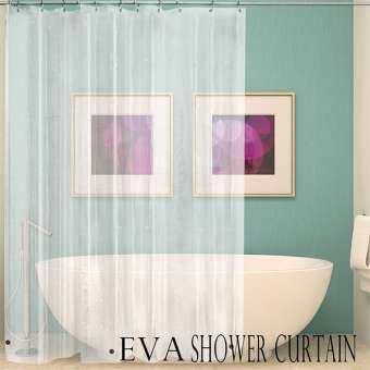 BuyBowie CLEAR ผ้าม่านห้องน้ำกันน้ำฝักบัวอาบน้ำผ้าซับม่าน 12 ตะขอสำหรับห้องน้ำ-