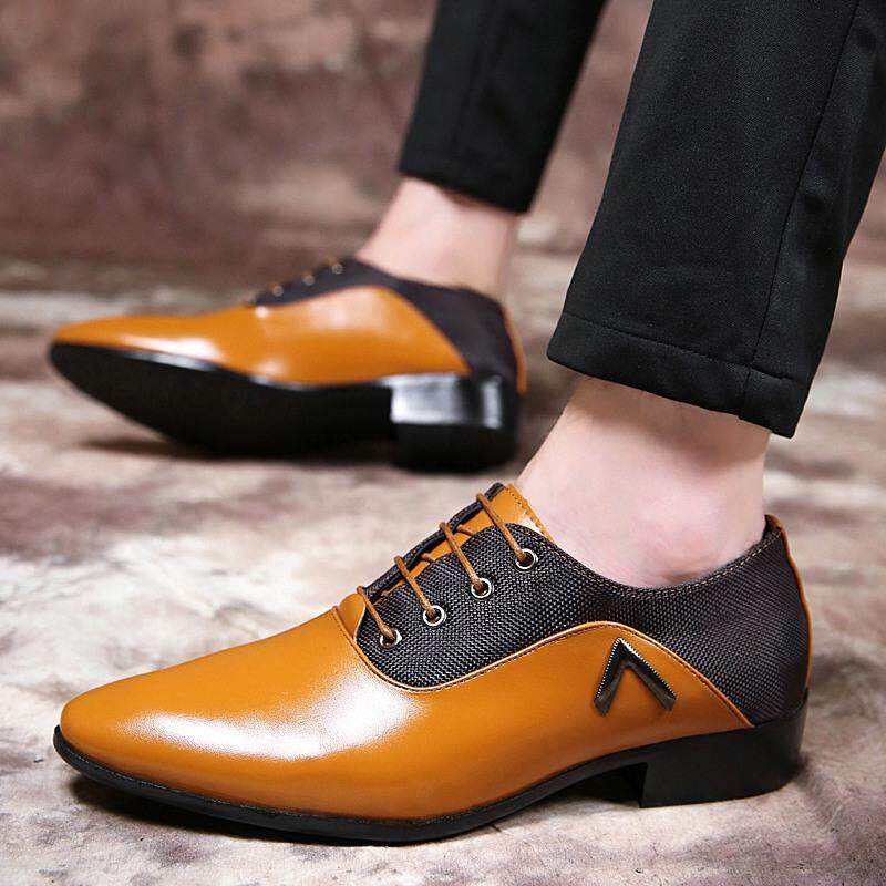 f2c763cd3a3 YEALON Leather Shoes Man Leather Shoes For Men Shoes Leather Fashion  Genuine Leather Men Dress Shoes Pointed Toe Bullock Oxfords Shoes For Men  Lace Up ...
