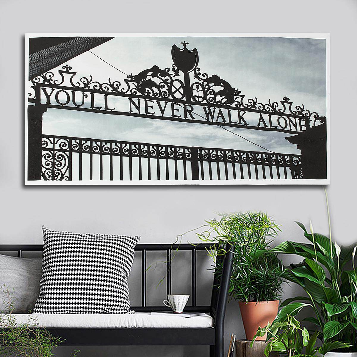 Liverpool You/'ll Never Walk Alone CANVAS WALL ART Picture Print Black and White