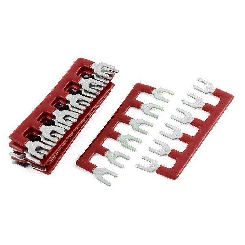 Fork 6 Postions Pre Insulated Terminal Strip Block Red 600V 25A 10 Pcs