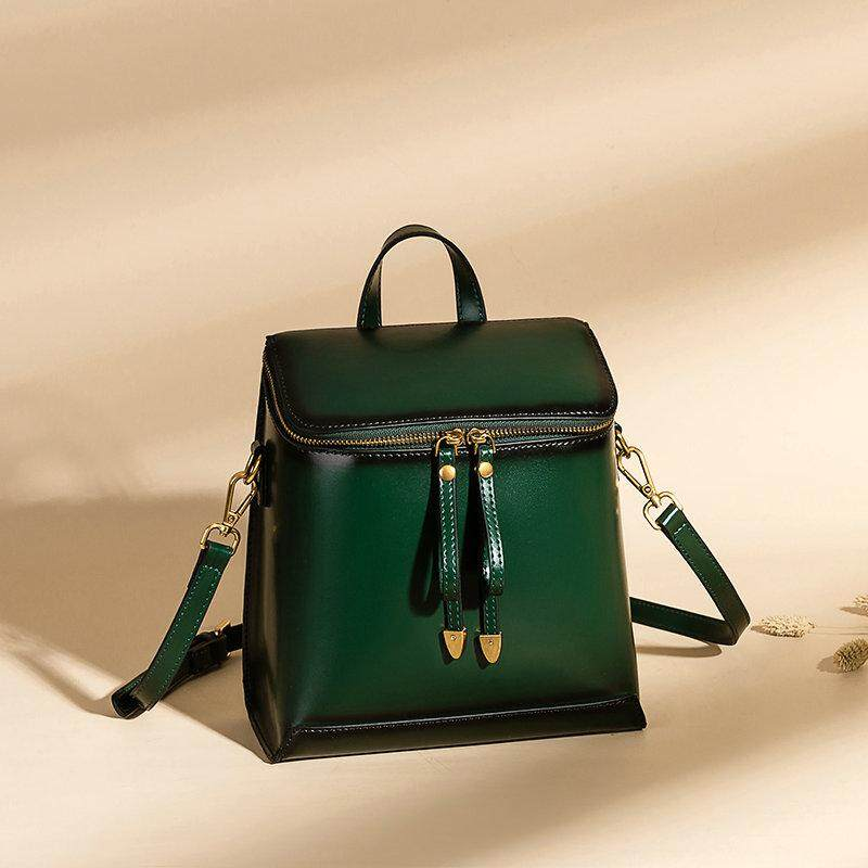 666245453fe5 New Retro College Style Shoulders Bag Genuine Leather Backpack Women  Designer Leather Backpack Female Bags