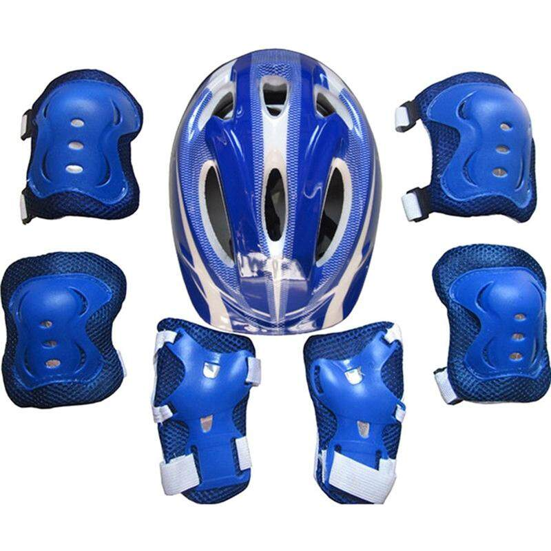 MeiYang 7Pcs/Set Kids Safety Roller Skating Helmet Knee Elbow Wrist Pads Set for Bicycle Cycling Skateboarding Protective Gear