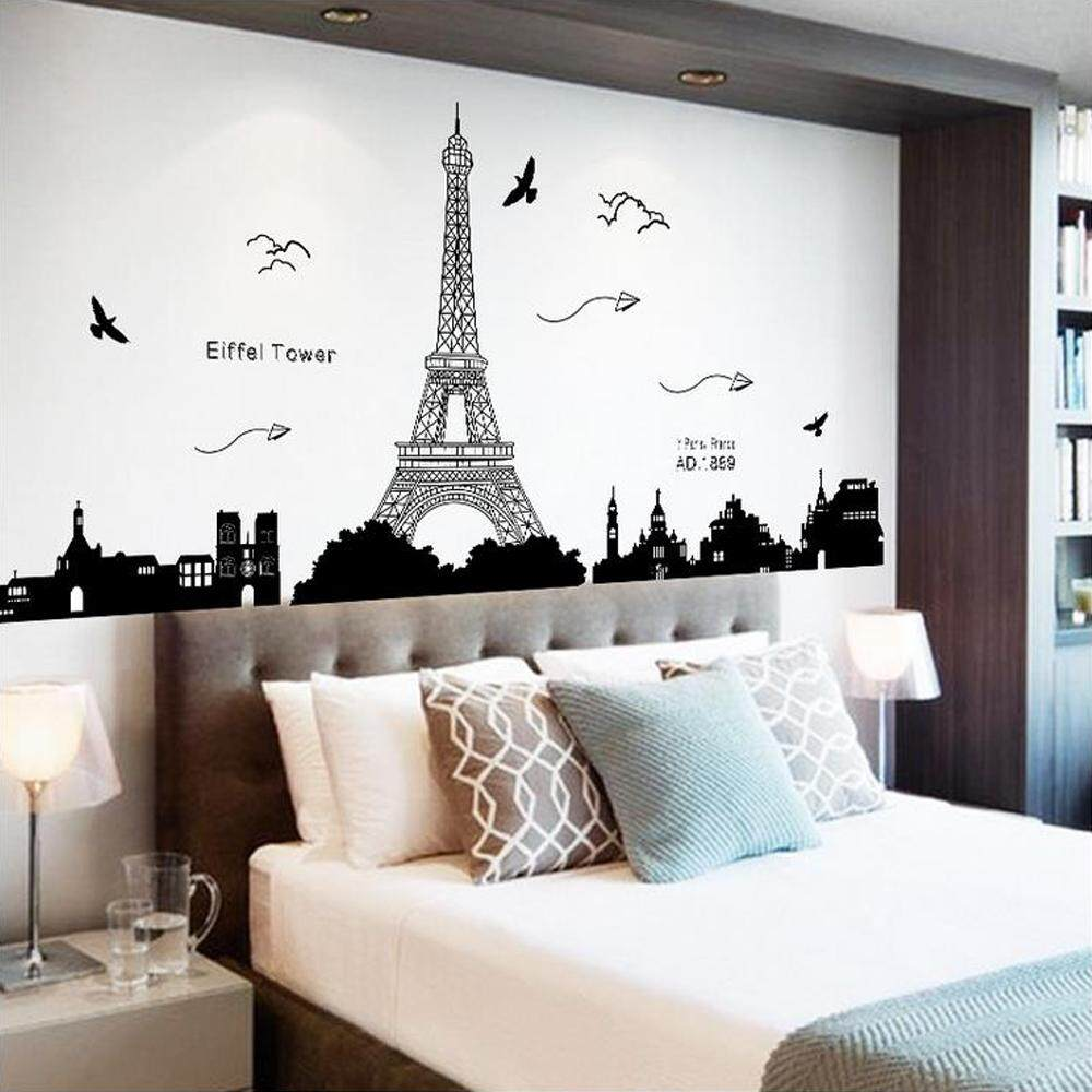 Eiffel Tower City PVC Wall Decals DIY Home Sticker WallPaper Vinyl Wall arts Pictures Removable Murals For House Decoration Baby Living Rooms Bedroom Toilet