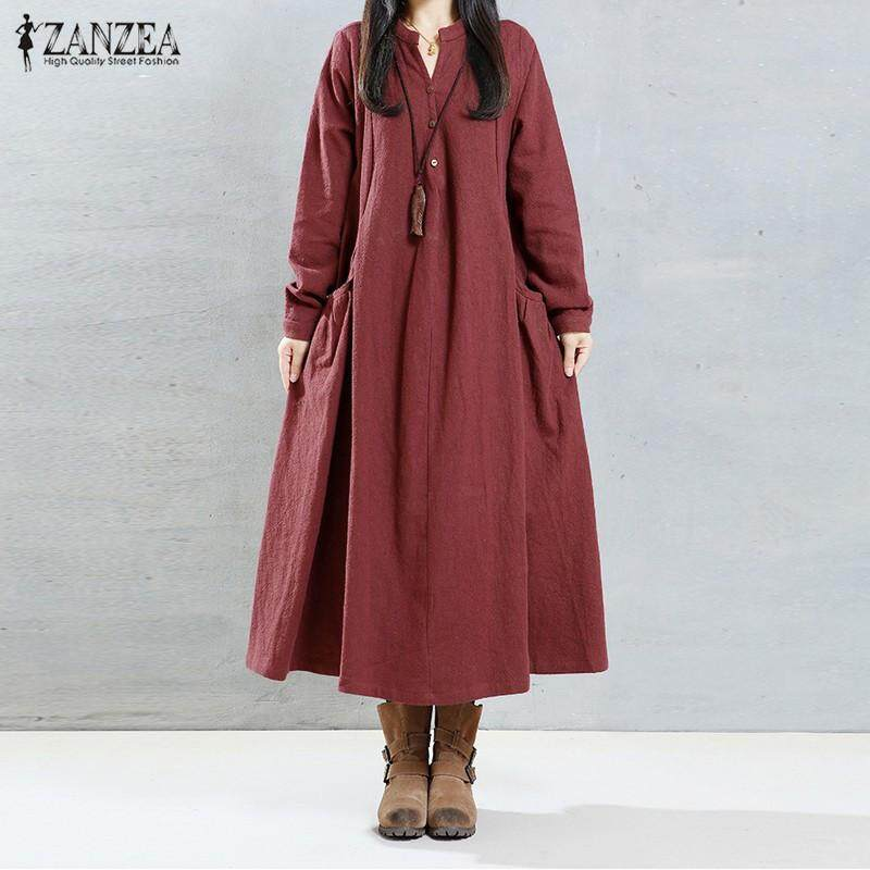 ZANZEA Women Long Sleeve V Neck Cotton Vintage Kaftan Casual Loose Maxi Dress