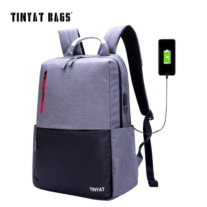 TINYAT Mens 15.6inch Laptop Backpack Computer USB charge Mochila School Backpack For Teenagers Male Gray Canvas Bagpack T811 – intl