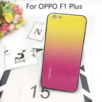 For OPPO F1 Plus Tempered Glass Case Gradient Painted protective Hard Casing Cover-