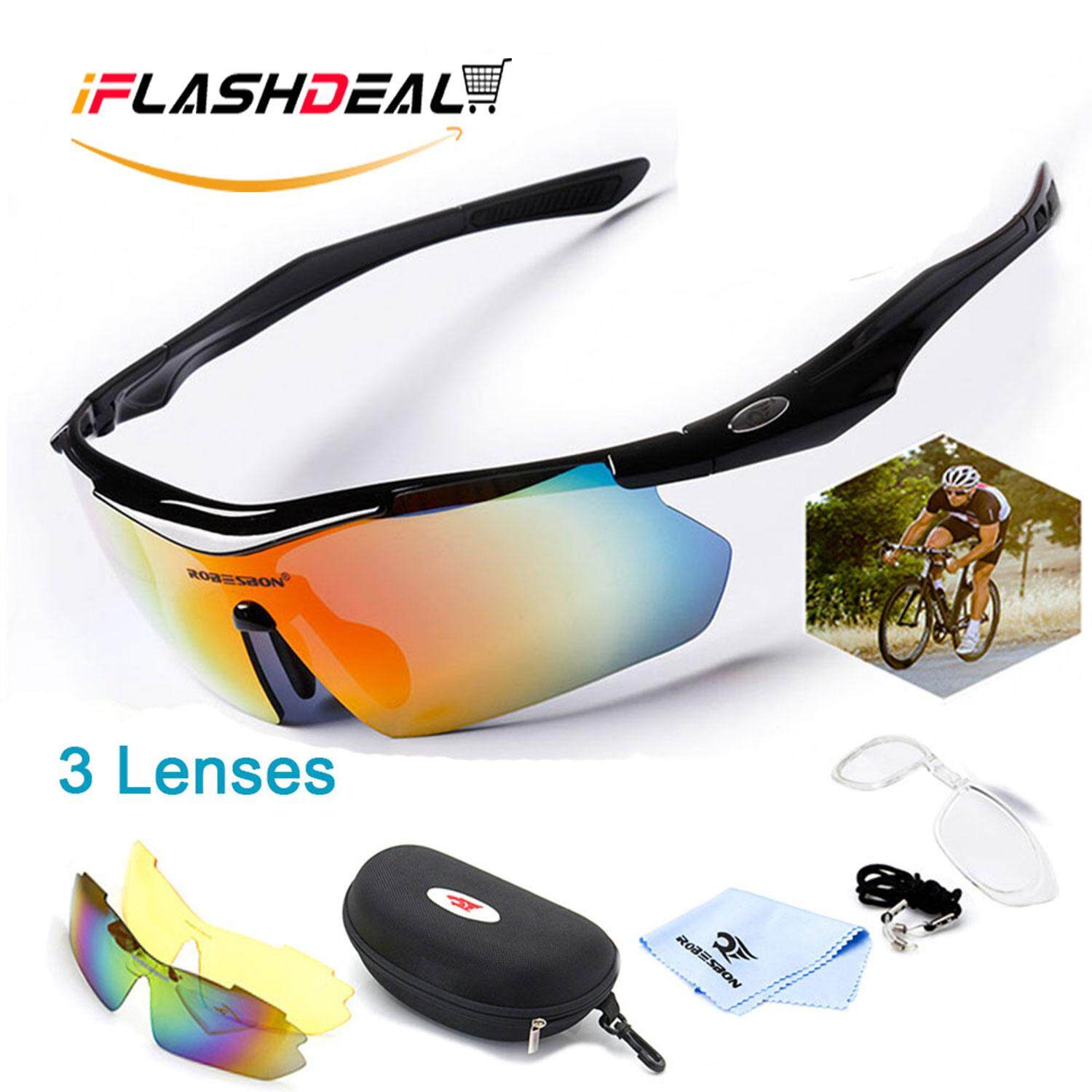 iFlashDeal【Global Express Delivery within 72 days】Men Sports Sunglasses Polarized Outdoor Sport Driving Male Women Sun Glasses Cycling Riding Running Glasses with 3 Interchangeable Lenses