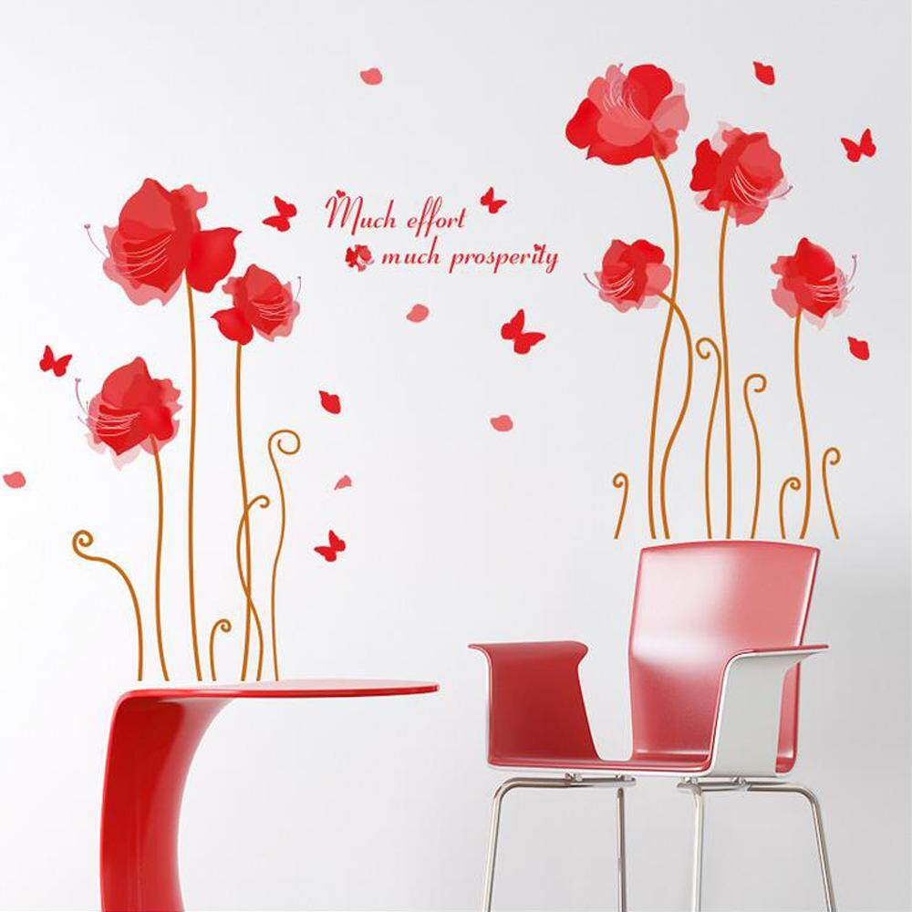 Red Flower Butterflies PVC Wall Decals DIY Home Sticker WallPaper Vinyl Wall arts Pictures Removable Murals For House Decoration Baby Living Rooms Bedroom Toilet