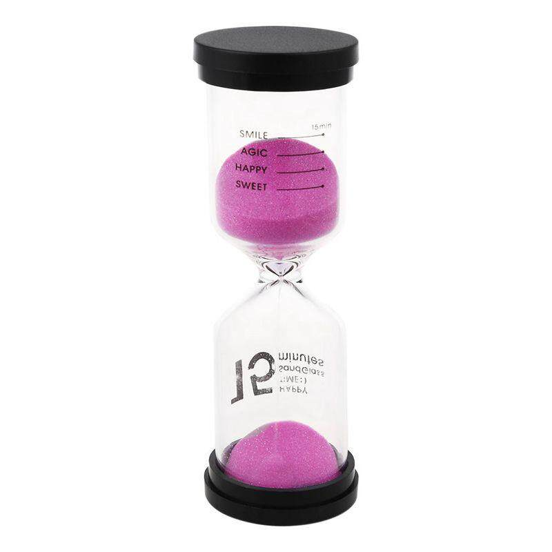 1 Pink Glass + Sand 15 minute tick time Hourglass With packaging 13*4.3CM