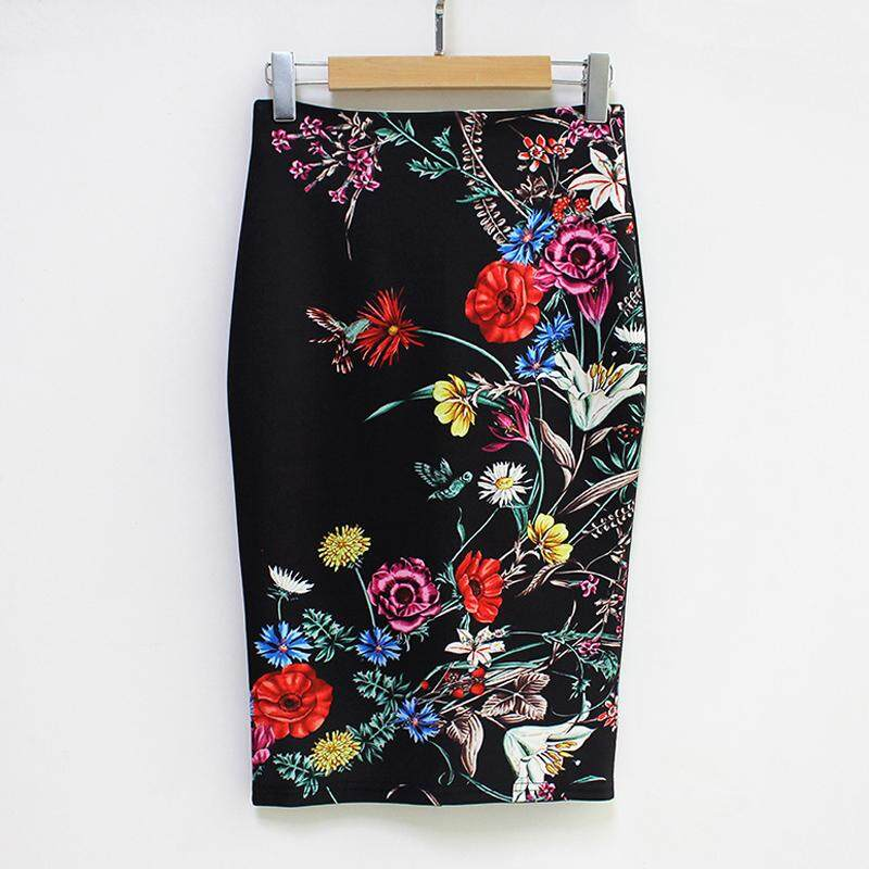 (Free Shipping Fee)New Women Pencil Skirt Vintage Floral Print High Waist Split Slim Elegant OL Bodycon Midi Skirt - intl