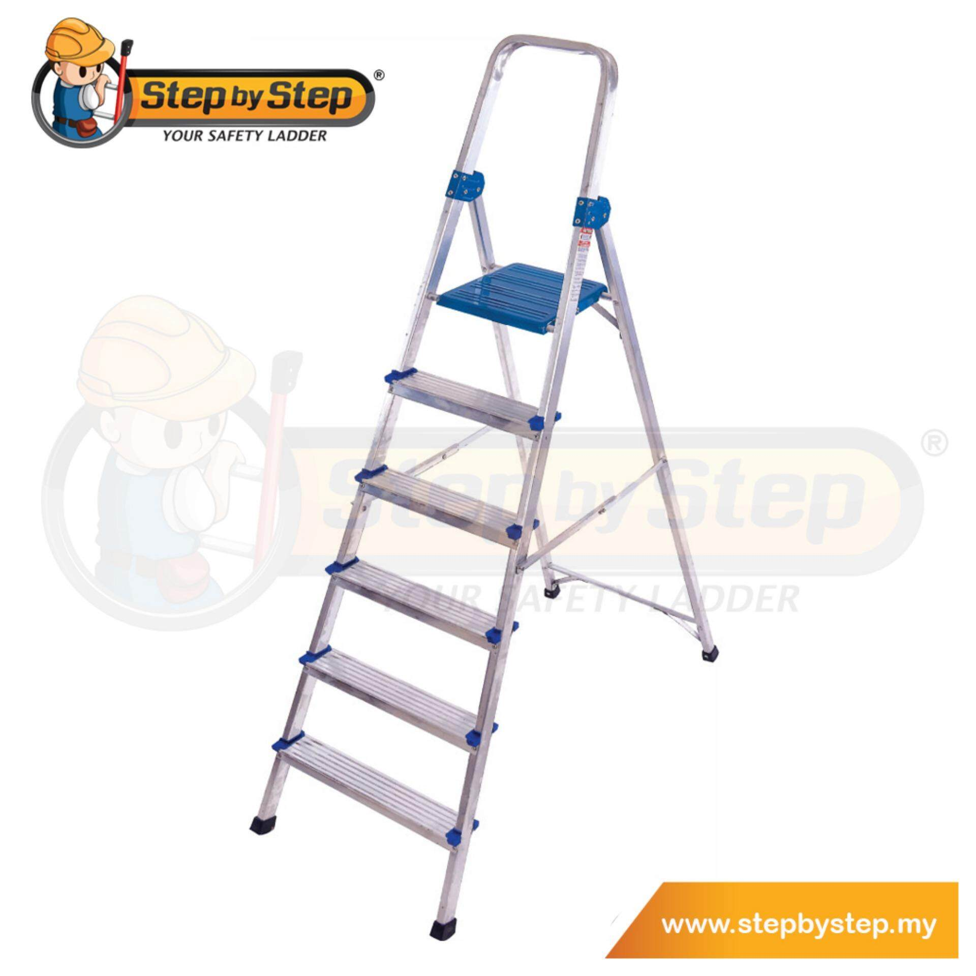 Step by Step Aluminium Queen Ladder with Handrail (QL06) - 6 Steps
