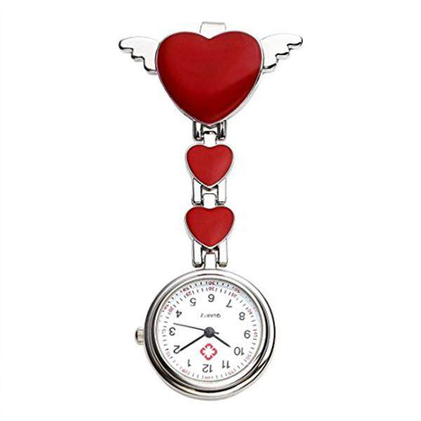 Womens Girls Heart Angle Wing Nurse Fob Clip On Brooch Hanging Pocket Watch Red