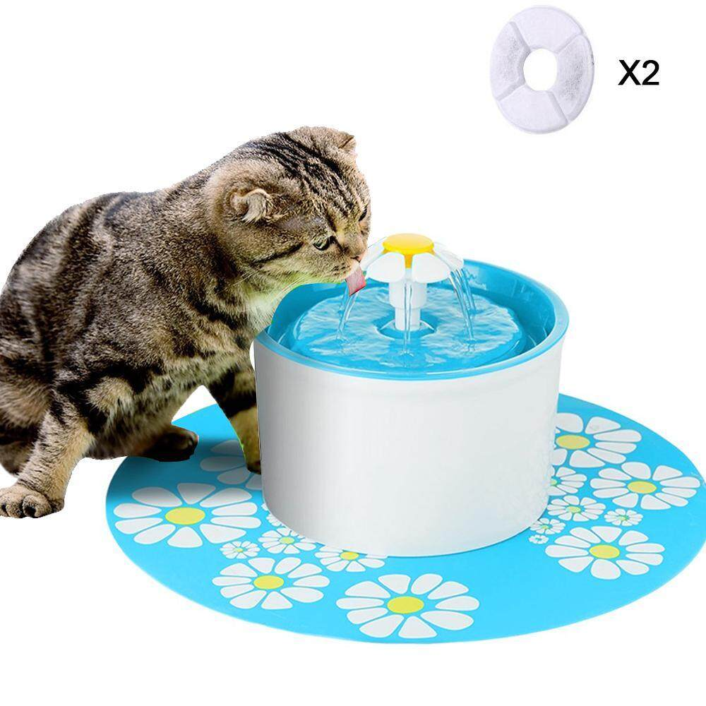 Treeone Pet Fountain, Pet Circulating Water Dispenser, 1.6L Cat Water Fountain Filter, Filtered Cat Water Bowl, Dogs And Cats Waterfall Drinking Fountain - Blue, UK Plug image
