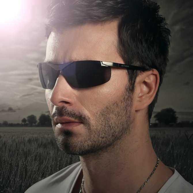 Brand Men's Polarized Sunglasses Rimless Rectangle Driving Mirror Sport Mens Sun Glasses(Black)