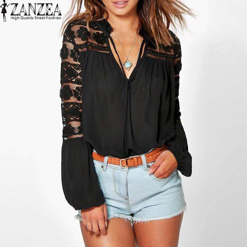 ZANZEA Lace-up Tops Women V Neck Lace Crochet Patchwork Long Sleeve Blouses - intl