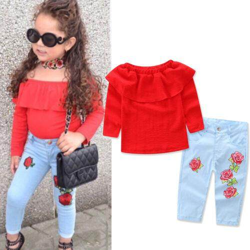 Baby Kids Children Girls Blue T-shirt Jeans pants Tops Cardigan 3PCS Outfit Set