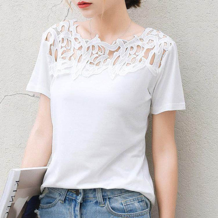 Female Milk Silk Lace Patchwork Blouse Shirt Short Sleeve Shirt Elegant Ladies Tops Plus Size Women's Clothing เสื้อเบลาส์และเสื้อเชิ้ต