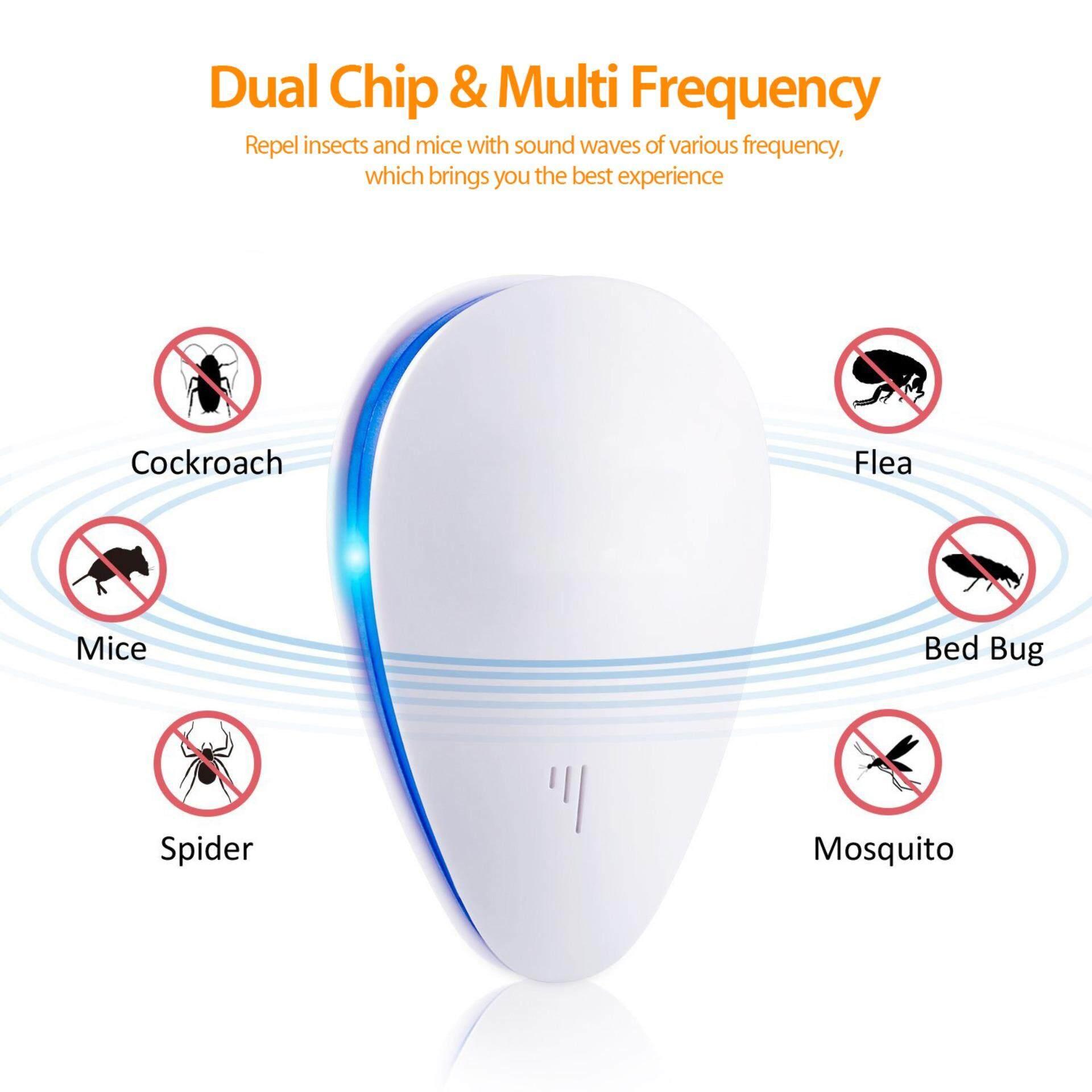 Ultrasonic Pest Control Repellent Plug In - Insects Repellent - Repels Mice, Bed Bugs, Mosquitoes, Spiders - Human/Pet Safe (UK/US/EU Plug) AC 90-250V - intl