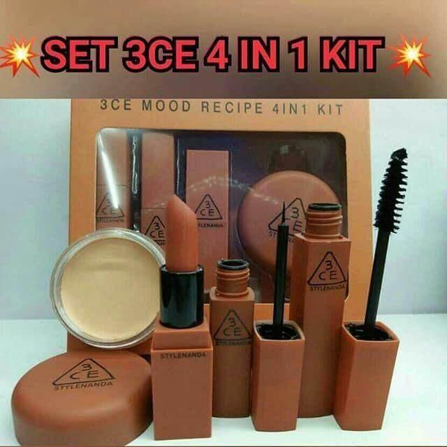 3CE Mood Recipe 4IN1 Kit (Mascara + Eyeliner + Lipstick + Cottect )