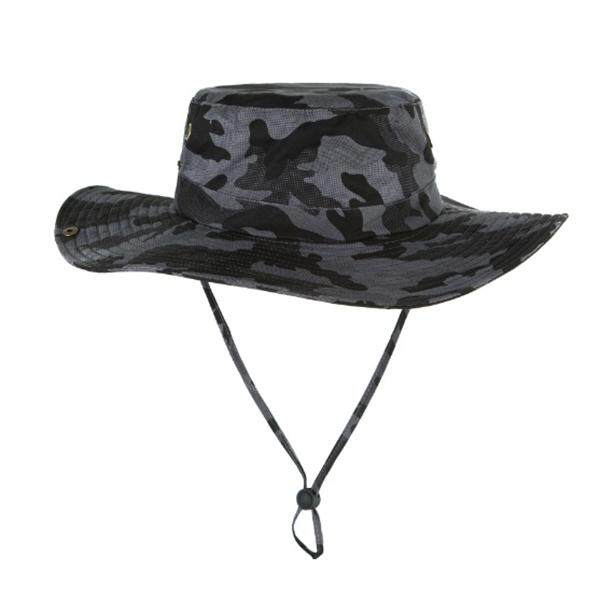 Men Wide Brim Camouflage Bucket Hats Outdoor Jungle Fisherman Foldable Sun Cap