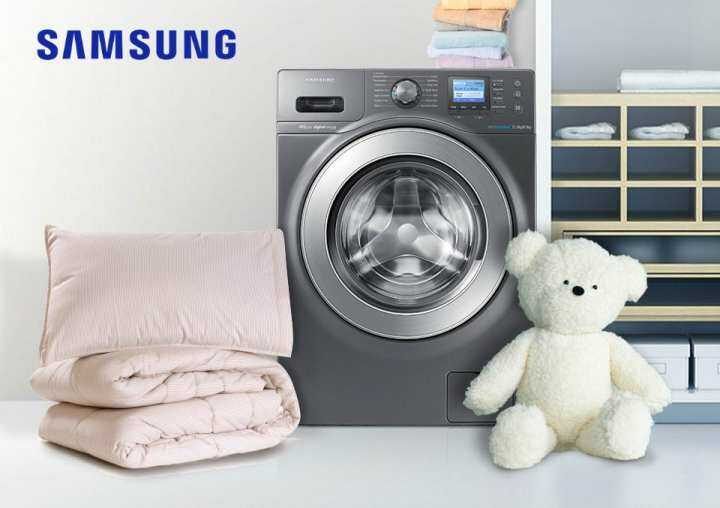 New : Samsung Front Load Combo Washer with Eco Bubble, 12kg washer & 8kg dryer : WD12F9C9U4X + Gift