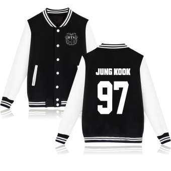 Kpop BTS Bangtan Boys JungKook Winter Baseball Jacket Men and Women Cotton Sweatshirt College Sportswear Fleece Jackets Casual Slim Fit Jacket(Black/Grey/Pink/Navy)-