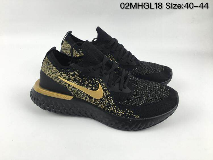 Nike Epic React Flyknit Men s Running Shoe Comfortable Sports Sneakers  (Black Golden) 35c93e115e
