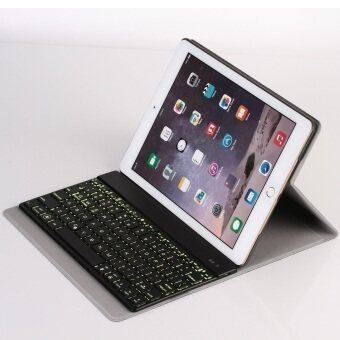 F16s Detachable PU Case plus Wireless Bluetooth Keyboard Ultra Slim Aluminum with Backlit for Ipad Air 2 (Black)