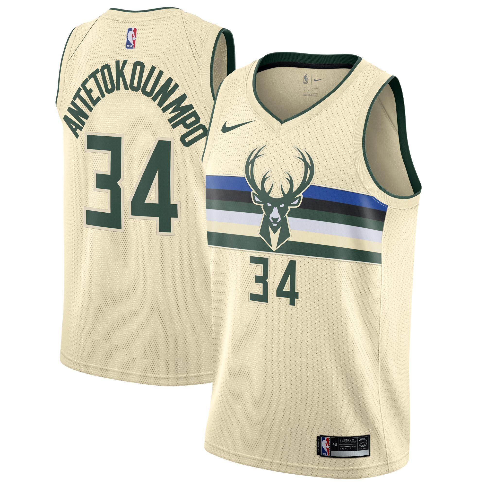 c07fb3cab118 NBA Basketball Clothes Num 34 Swingman Jersey Milwaukee Bucks Giannis  Antetokounmpo For Male Official Authentic lightweight