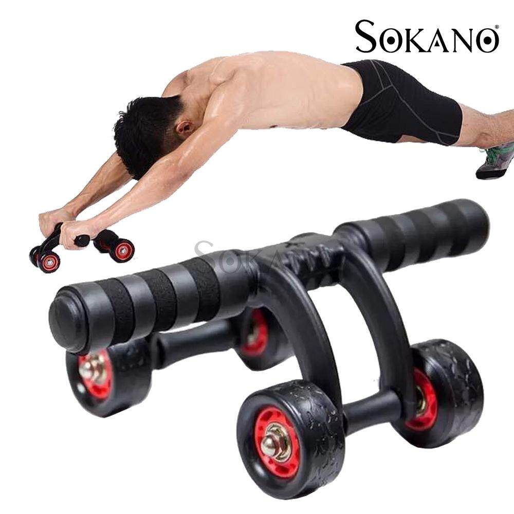 ABS Roller Wheel /& Knee Protection Mat,Comfortable Soft Grip Handles for GYM