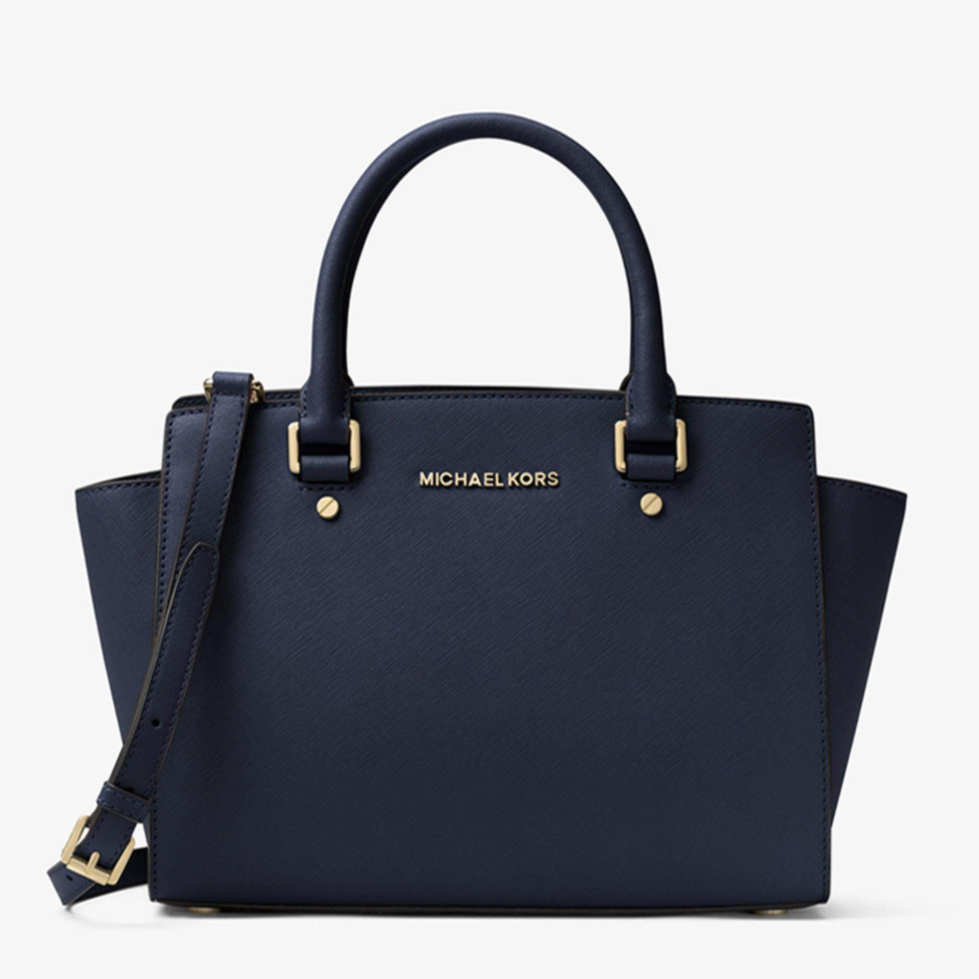 ac5090982a048 Michael Kors Selma Saffiano Leather Large Satchel (Navy)