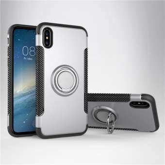 iPhone X Case, iPhone Xs Case, Luxury Magnetic Armor Silicone Case Cover Metal Ring Hard Case Phone Casing-