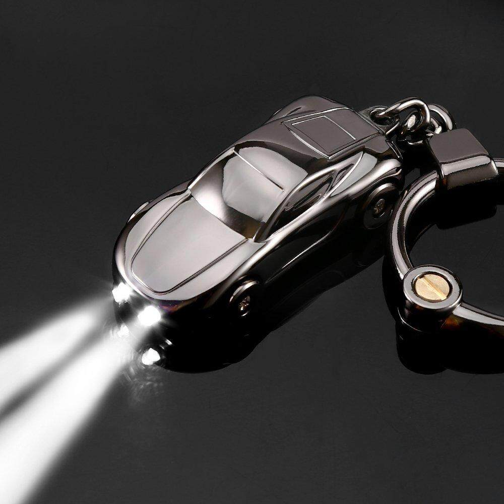 Key Chain Flashlight Zinc Alloy Car Keychain with 2 LED Light Key Ring for Men Women Gift (Gray)