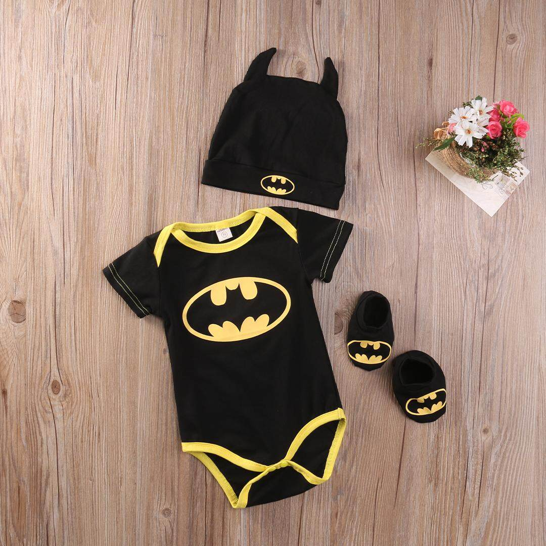 Newborn Baby Boy Girl Clothes Batman Rompers+Shoes+Hat Costumes 3Pcs Outfits Set