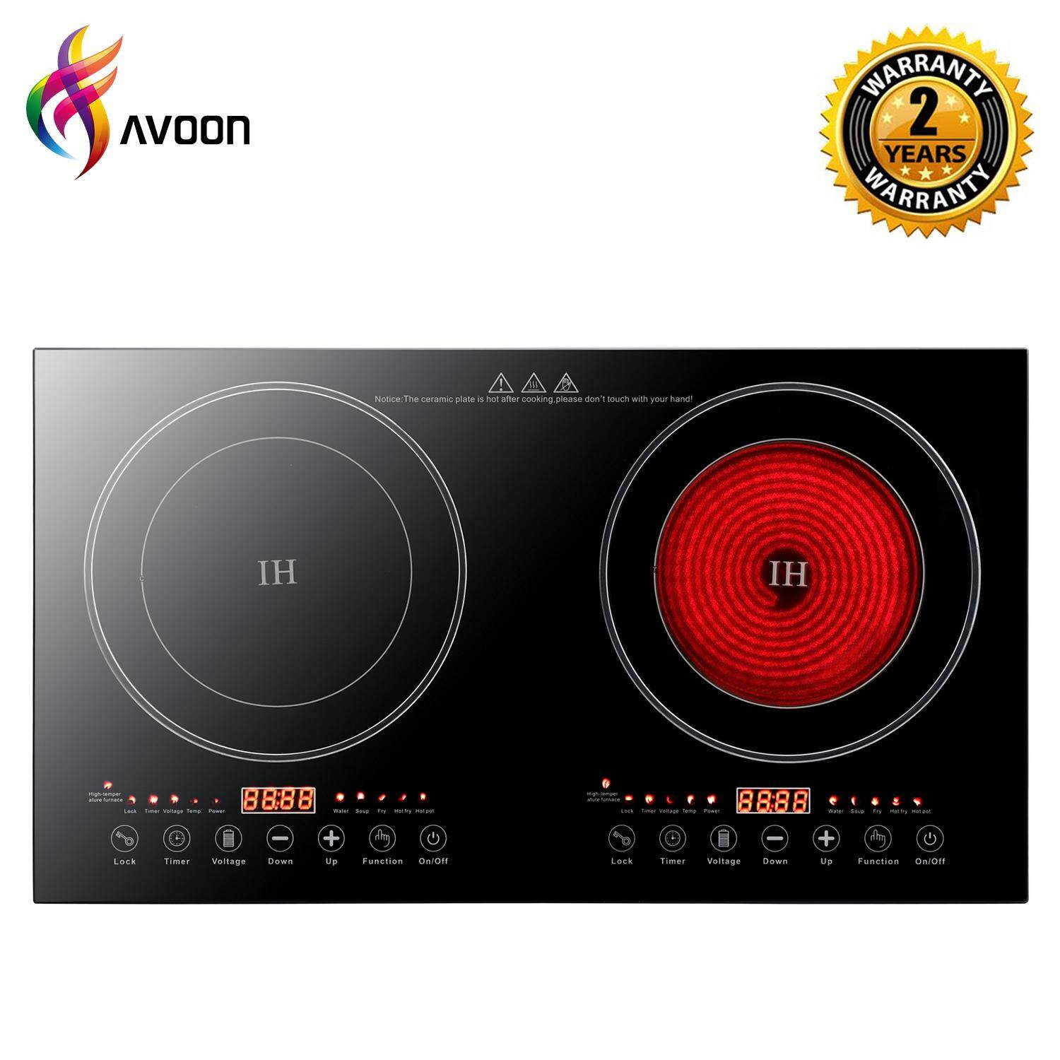 Avoon 2 in 1 Induction & Ceramic Hob Multi Cooker 2200W + 2200W
