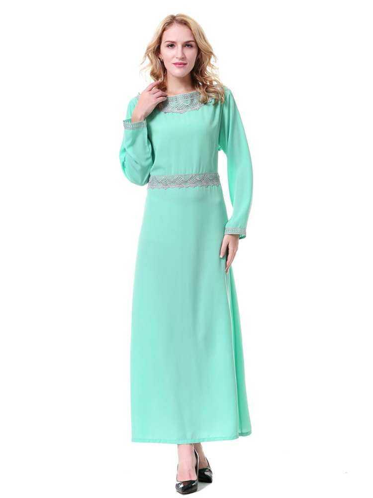 Muslim Gaun O-neck Wanita Arab Timur Tengah Dubai Arab Saudi Nexia Femme Baju Muslim Gamis Musluman Wanita Fashion TH911 Saudi Pakaian Abaya