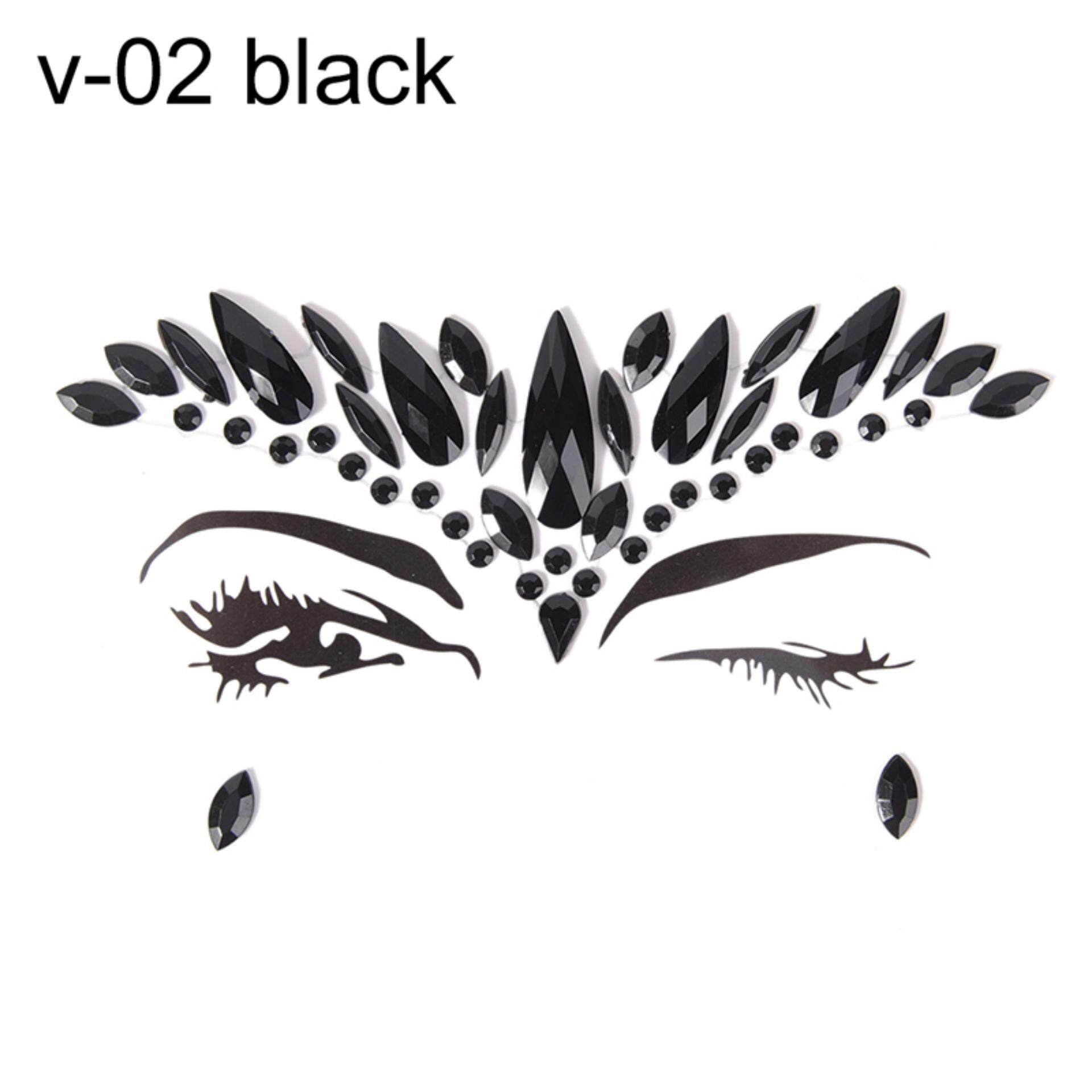 Makeup Fancy Crystal Face Body Jewels Festival Party Glitter Eye Stickers Tattoo  Color: v-02 Black